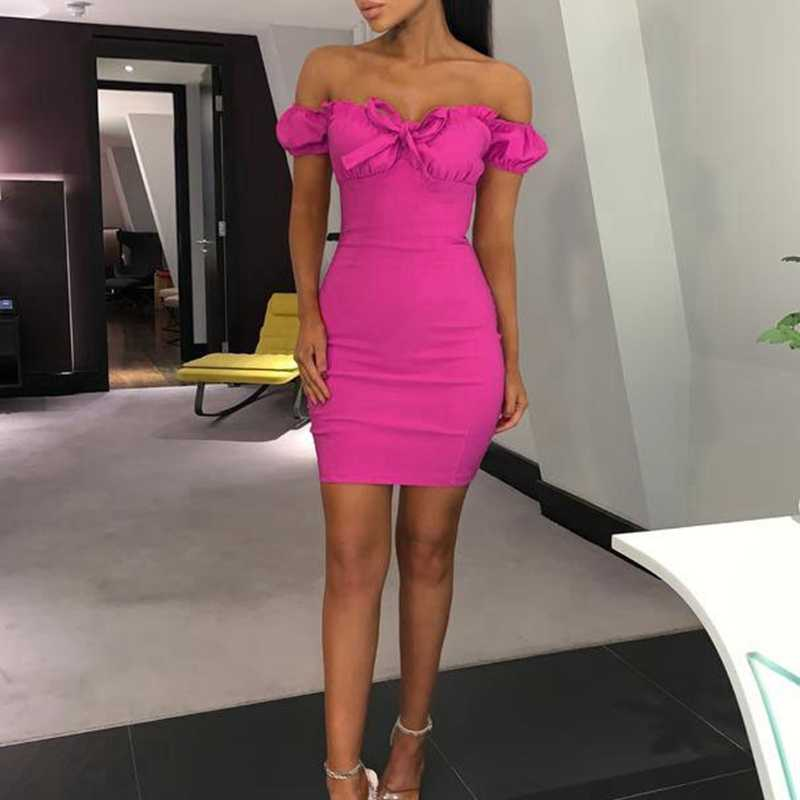 Sexy Women's Off Shoulder Sleeveless Bodycon Party Cocktail Club Mini Dress Summer 2019 Hot Pink Slim Dresses