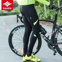 Santic Men Bike MTB Cycling Long Italy Improted Padded Cushion Pants Winter Breathable Reflective Pants Keep Warm Cycling Pants