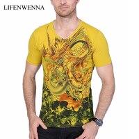 2016 New Summer Mens Short Sleeve T Shirt Chinese Style Dragon Print Mens T Shirt High