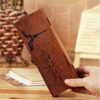 Zakka Wooden Pencil Box 2pcs Set Stationery Wind Nostalgic Eiffel Tower Box Wooden Box Stroge Box