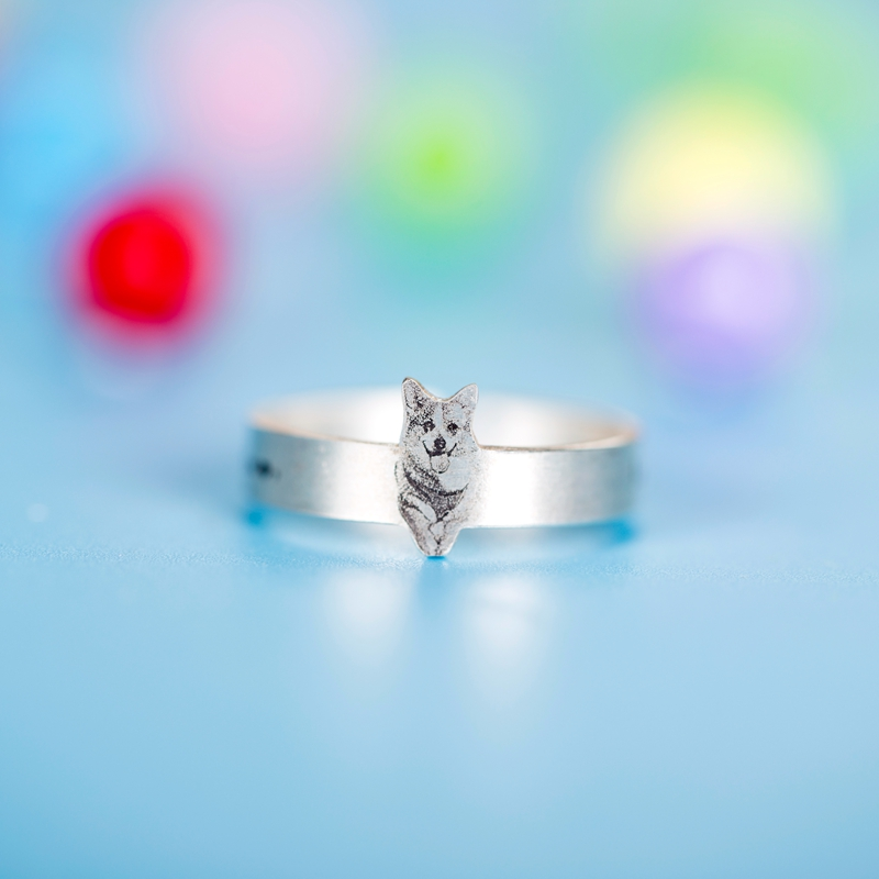 Customize Pet Rings for Pet Lovers 990 Sterling Silver Open Rings for Women and Men Bague Femme Best Gifts