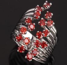 Поглощая цвет красного вина гранат ювелирные изделия праздников 925 серебро Для женщин Jewelrys Кольца Размеры 6 7 8 9 S0662