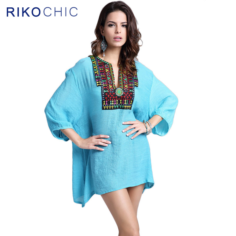 87b92dcce7e2bb RIKOCHIC Vintage Boho Style Embroidery White Blouse big size Summer Women  Casual Blouse Female Boho Tops Blusa Beachwear C044-in Blouses & Shirts  from ...