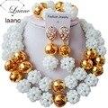 Sistemas de la joyería Africana de Nigeria Boda Perlas de Cristal Blanco laanc AL038