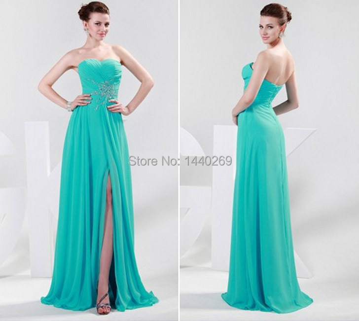 Sexy Strapless Side Split Chiffon Prom Gown With Beaded Floor Length Party Dress For Weddings Custom Made