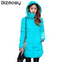 New Long Jacket Women Winter Slim Solid Coat Female Down Cotton Clothing Thicken Parka Red Hooded
