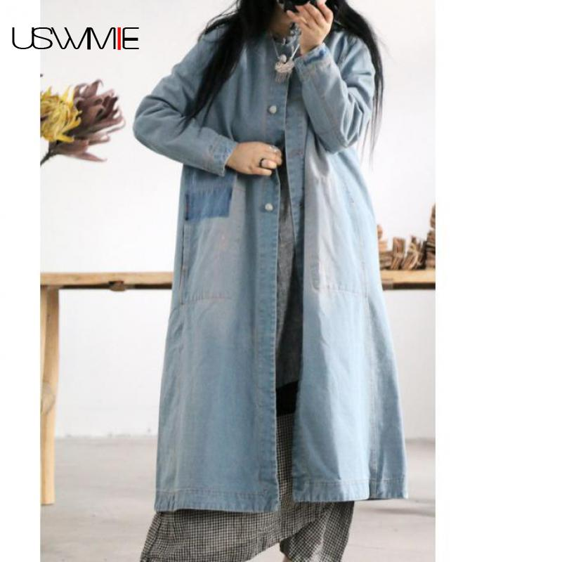 2019 Trench Coat For Women Literary Joker Single Breasted O-neck Solid Color Long Sleeve Loose Longer Cowboy Women Coat USWMIE