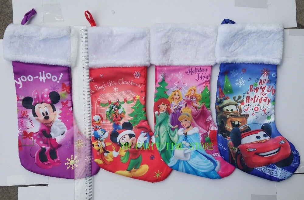 livraison gratuite de haute qualit 43 cm satin en peluche minnie souris princesse voiture film de bande dessine de nol bas chaussette de bonbons - Chaussette De Noel Disney