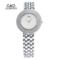 2017 G D GLE VDO Luxury Womens Quartz Watches Silver Womem S Bracelet Watches Rhinestone Ladies