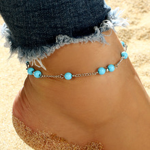 Simple Summer Beach Girls Anklet Sky Blue Beads Foot Single Layer Bracelet Ankle Womens