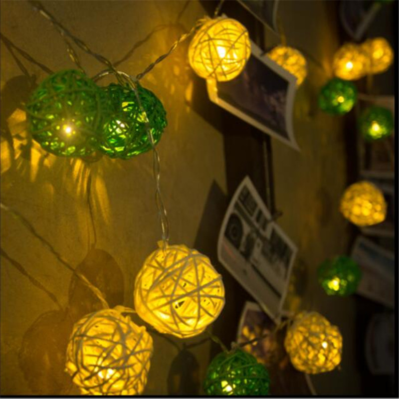 5m 28LED Waterproof White Green Rattan Ball Fairy String Lights Xmas Wedding Outdoor Party Decorating Lights EU US plug