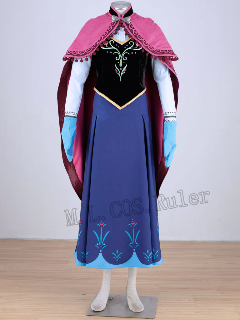 2014 Movie Adult Cosplay Party Princess Anna Cosplay Costume Anna Dress  Custom  Made Hallowmas