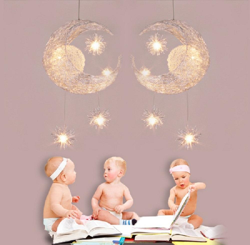 la habitacin de los nios de iluminacin de aluminio moderna moda luna y estrella colgante luces