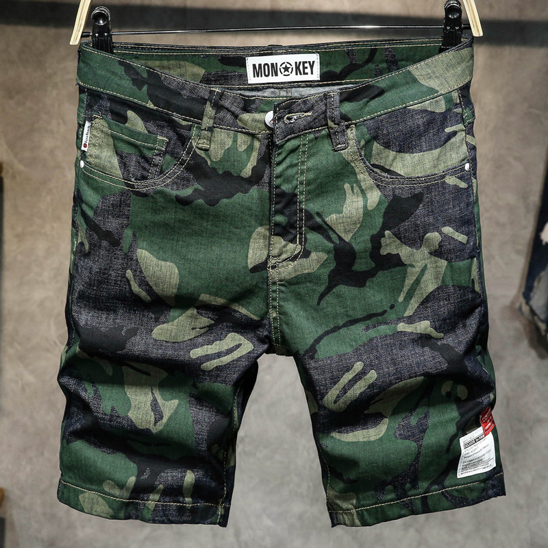 Denim Shorts Male Camouflage Slim Tide Brand Personality Jeans Lightweight Knee Length Cargo Shorts Straight Hip Hop Board Short
