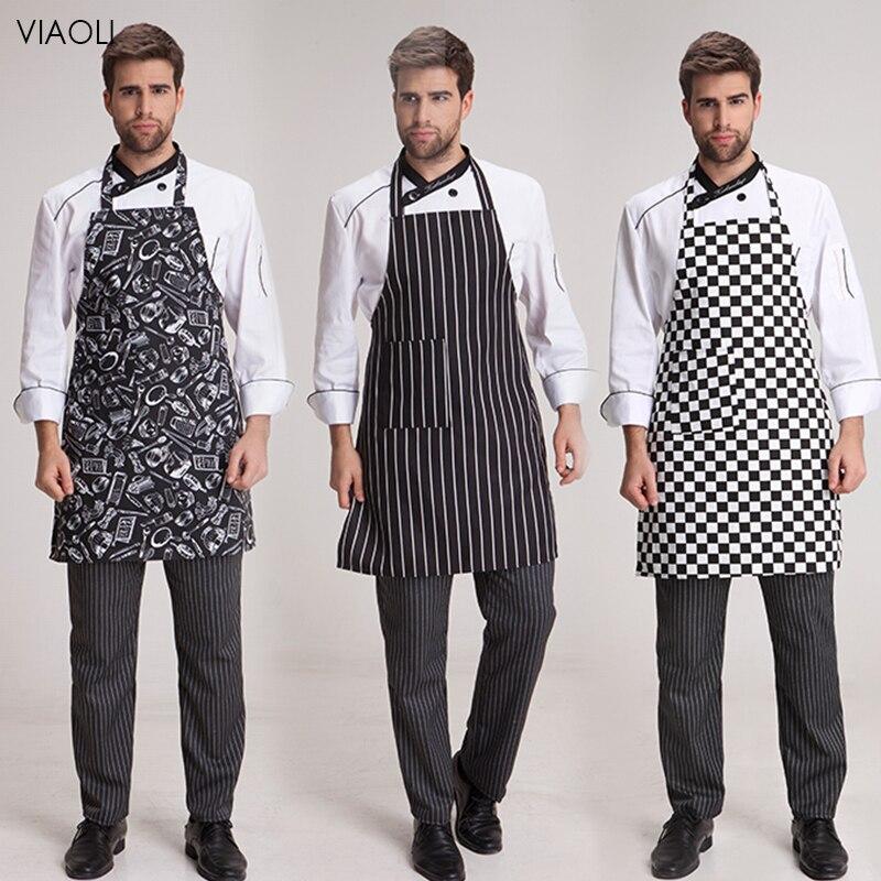 Wholesale Unisex Half-length Adult Apron Striped Hotel Restaurant Chef Waiter Apron Kitchen Cook Adjustable Waterproof Apron New