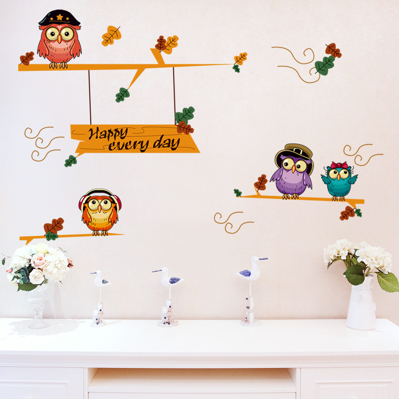 US $1.77 |Cute owl wall stickers for baby room removable cartoon wall  decals kids adhesive children bedroom amimal wall pictures-in Wall Stickers  from ...