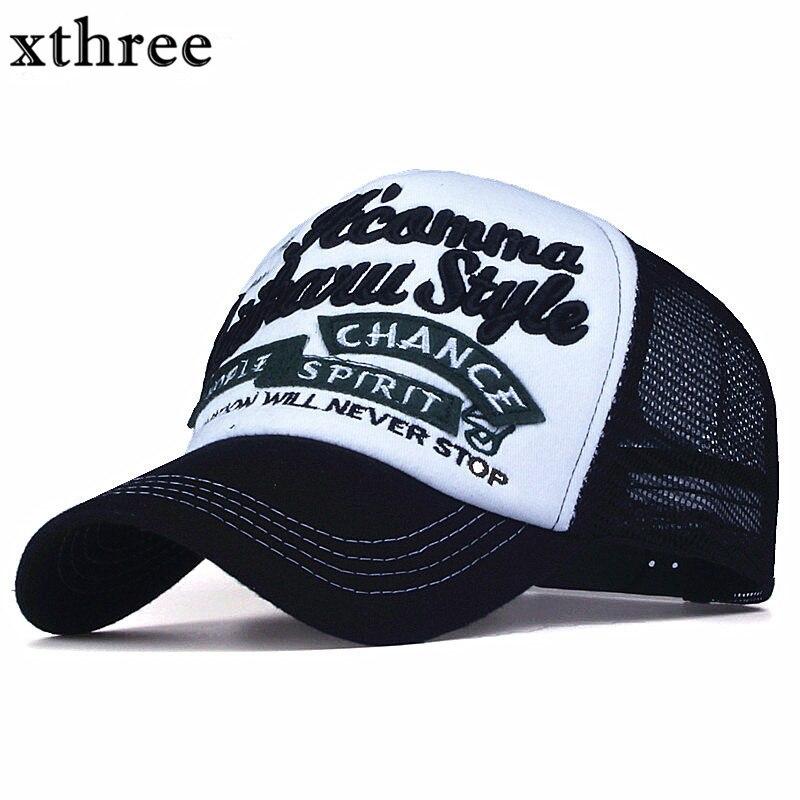 Xthree New 5 panels embroidery summer baseball cap casual mush cap men snapback hat for women casquette gorras