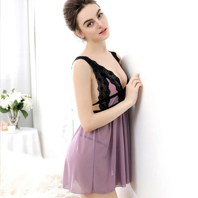 Suspender Lace   Nightgowns   Ms V Collar Seduction Sexy   Sleepshirt   Ladies Pure Night Dress Summer Sleepwear Free Shipping Sale