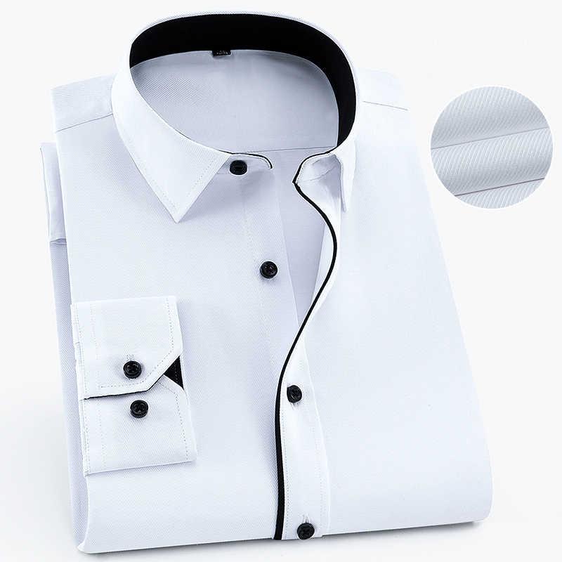 Синяя саржа, однотонная, без кармана, с длинным рукавом, с отложным воротником, формальные мужские деловые рубашки, высокое качество, популярная классическая мужская Рабочая Рубашка