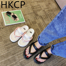 HKCP Beach shoes female summer 2019 Korean version of the simple fashion flat set toe wearing a word slippers C424