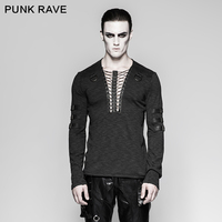 Punk Rave Men's Gothic Steampunk Rock Long sleeve T shirt with Lacing T462