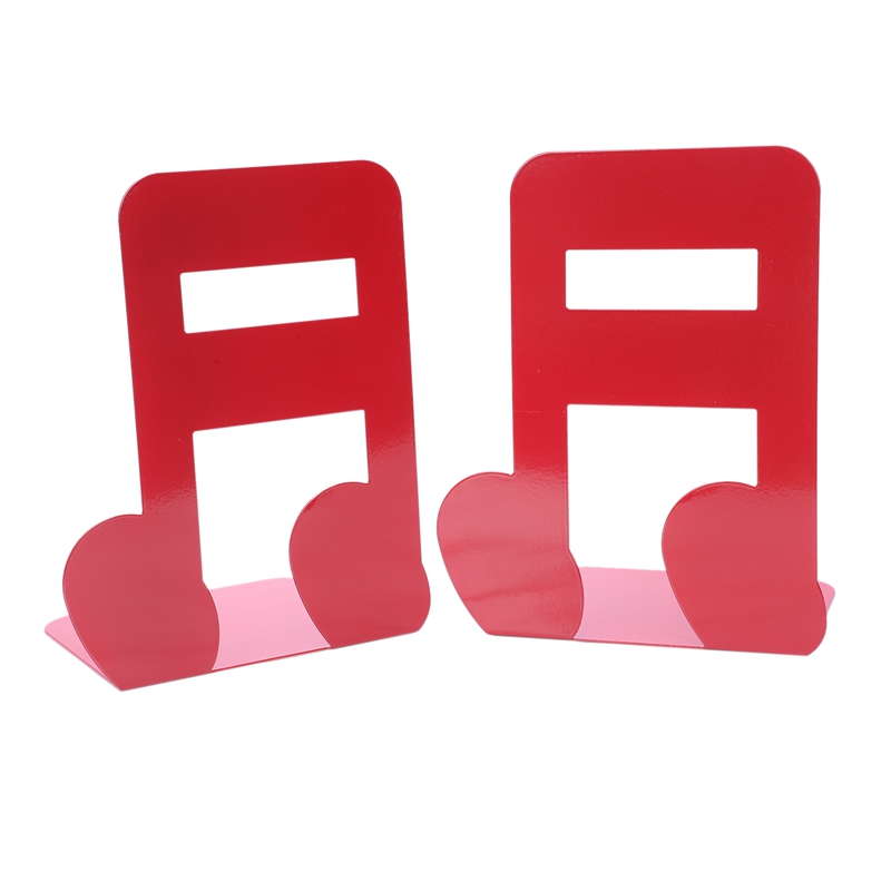 2Pcs Musical Note Metal Bookends Iron Support Holder Desk Stands For Books