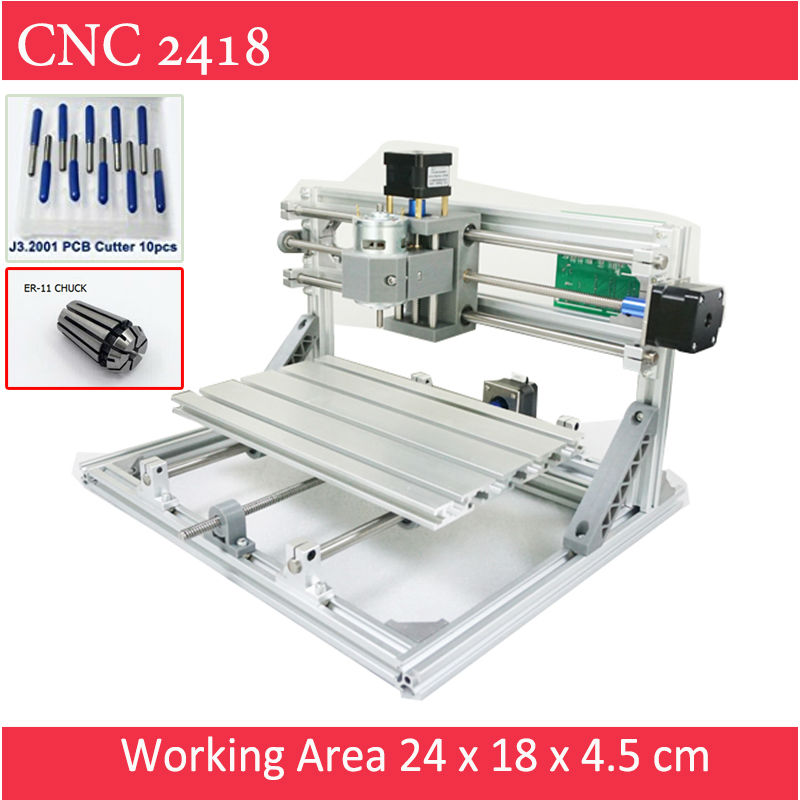 CNC 2418 Standard CNC engravier + ER11 Chuck with 500mw 2500mw 5500 mw laser Pcb Machine Milling wood router cnc 3018 standard with optional laser of 500mw 2500nw 5500 mw laser cnc engraving machine for pcb scribing milling wood router