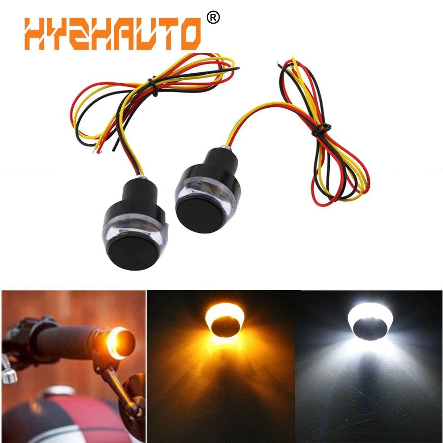 HYZHAUTO Motorcycle Turn Signal Light Dual Color Handlebar Bulbs Motorbike Indicator light Yellow White Side Marker Lamp 2Pcs