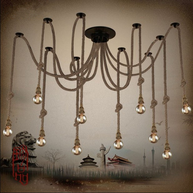 Hemp Rope Chandelier Antique Classic Adjustable Diy Ceiling Spider Lamp Light Retro Edison Bulb Pedant Lamp for home ...