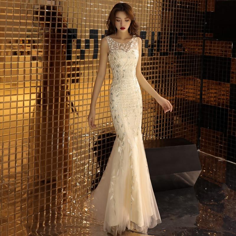 Fashion V-Neck Spaghetti Strap Lace Mermaid   Evening     dress   Robe de soiree longue 2019 Long   evening   gowns gaun malam