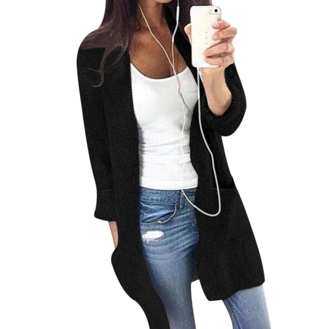 MIOIM Autumn Winter Sweater Women Long Sleeve Loose Knitting Cardigan Sweater Womens Pocket Female Cardigan Femme Outwear