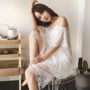 Image 2 - Lisacmvpnel Elegant Long Section Women Nightgown Solid Spaghetti Strap Lace Female Nightdress