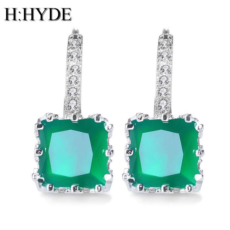 Wedding Earrings White Gold: H:HYDE High Quality White Gold Color CZ Zircon Around Hoop
