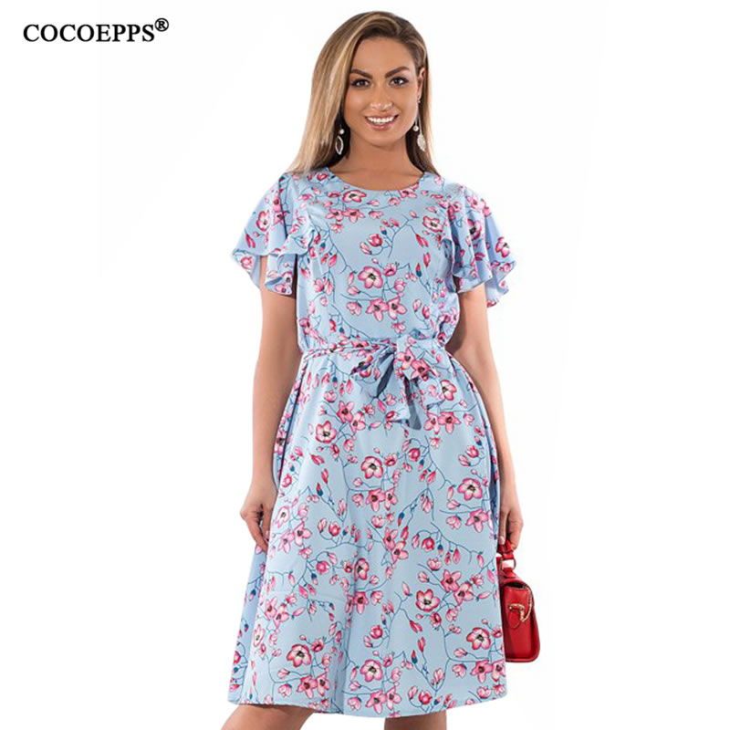 Summer Elegant Women Plue Size Print Sashes Dresses Big Size With Belt Casual Female Dre ...