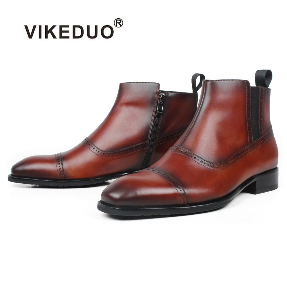 Vikeduo Square Toe Ankle Boots Men Suede Lining Genuine Leather Patina Botas Hombre Casual Party Office Man Footwear Winter Shoe