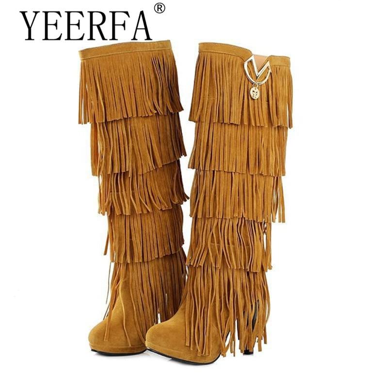 YIERFA size35-43 New Flock Winter Fur Women boots High heels Knee boots Fringe Tassels Fashion Black Brown Red Yellow Beige Punk inc new beige doe white women s size xl scoop neck fringe sweater $79 329