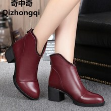 Large size 35 42 woman boots winter 2017 new women s genuine leather boots pointed ankle
