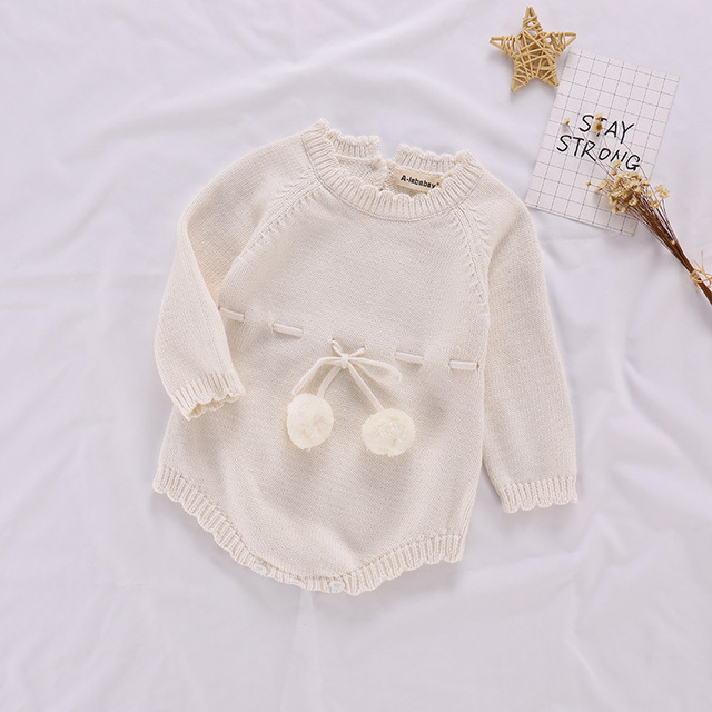 Autumn Baby Knitted Rompers Sweater Baby Girl Long-sleeve Knitted Overalls Infant Girl Princess Cotton Clothes Baby Girl Romper 1