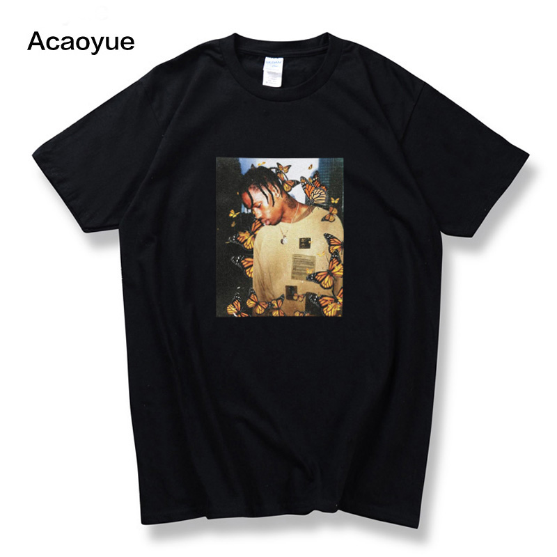 2018 Travis Scott Butterfly   T     shirt   Effect Rap Music Album Cover men and women Astroworld Face material top   T  -  shirt   s-2xl
