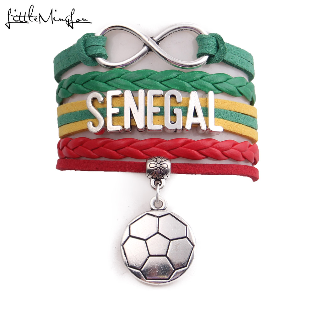 Little Minglou Infinity charm 2018 Senegal soccer bracelet soccer charm leather wrap men bracelets & bangles for women jewelry ...