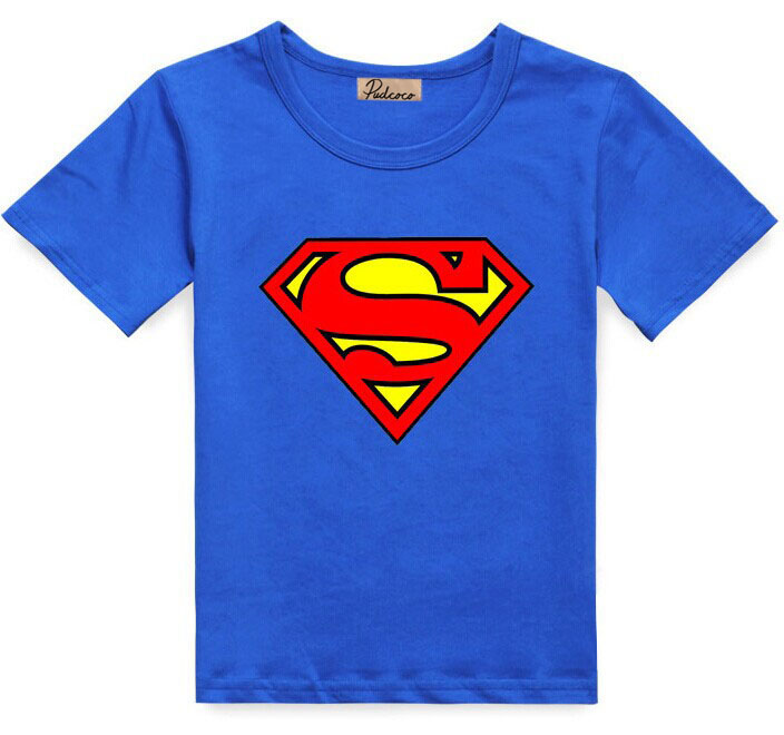 2016 Cotton Kids Boys Superman T-Shirt Short Sleeve Children Tees Costume Top cropped wide sleeve top