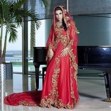 Trukey Kanftans Major Handcraft Beads Crystal Red Evening Dress Long Lace Appliques Arabic Dress with hijab Dubai Evening Dress