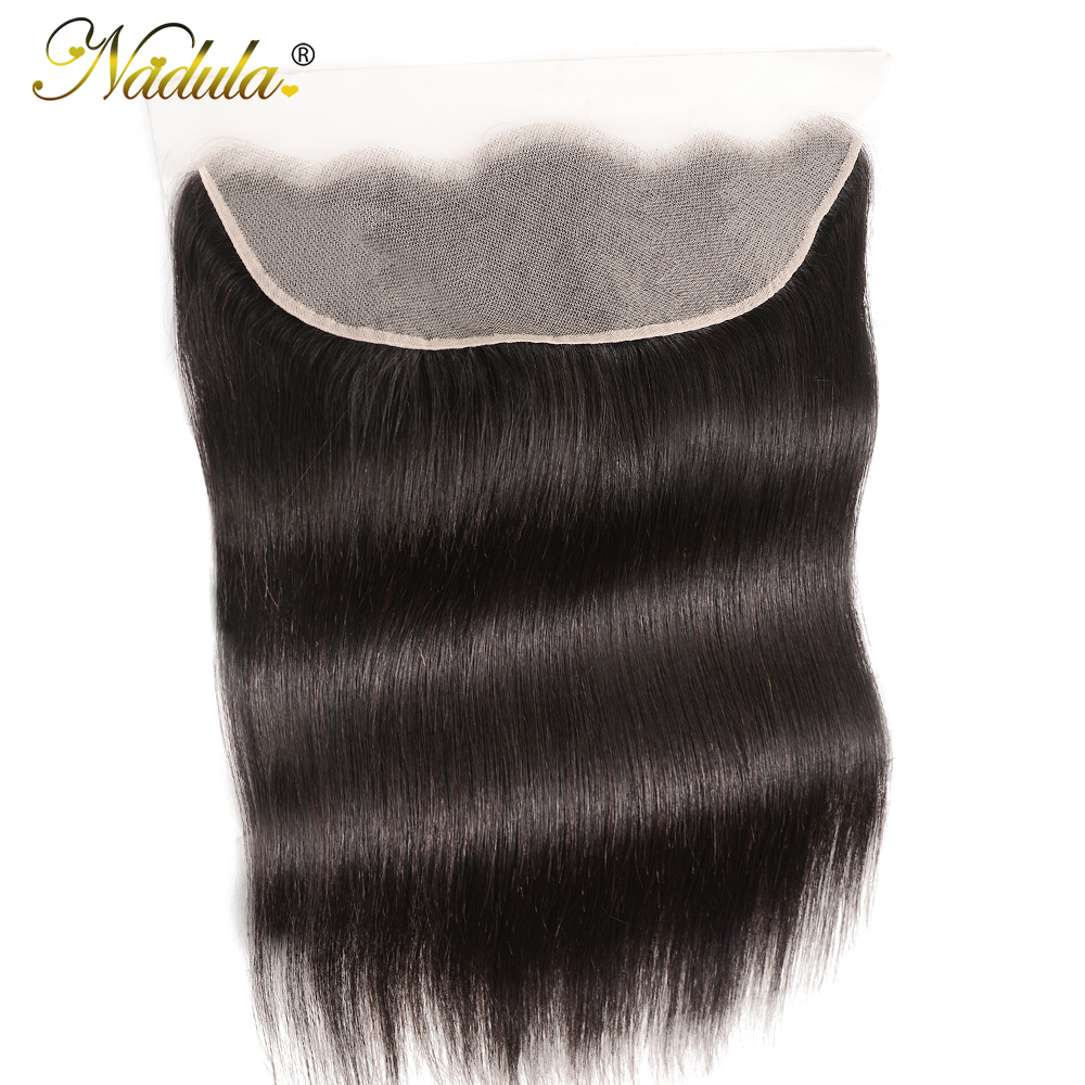 Nadula Hair Frontal 13*4 Lace Frontal Medium Brown/Transparent Lace Brazilian Straight Hair Frontal 130% Destiny Remy Human Hair(China)