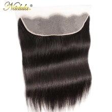 Nadula Hair Frontal 13*4 koronkowe przednie średnie brązowe koronkowe brazylijskie proste włosy przednie 130% przeznaczenie Remy ludzkie włosy