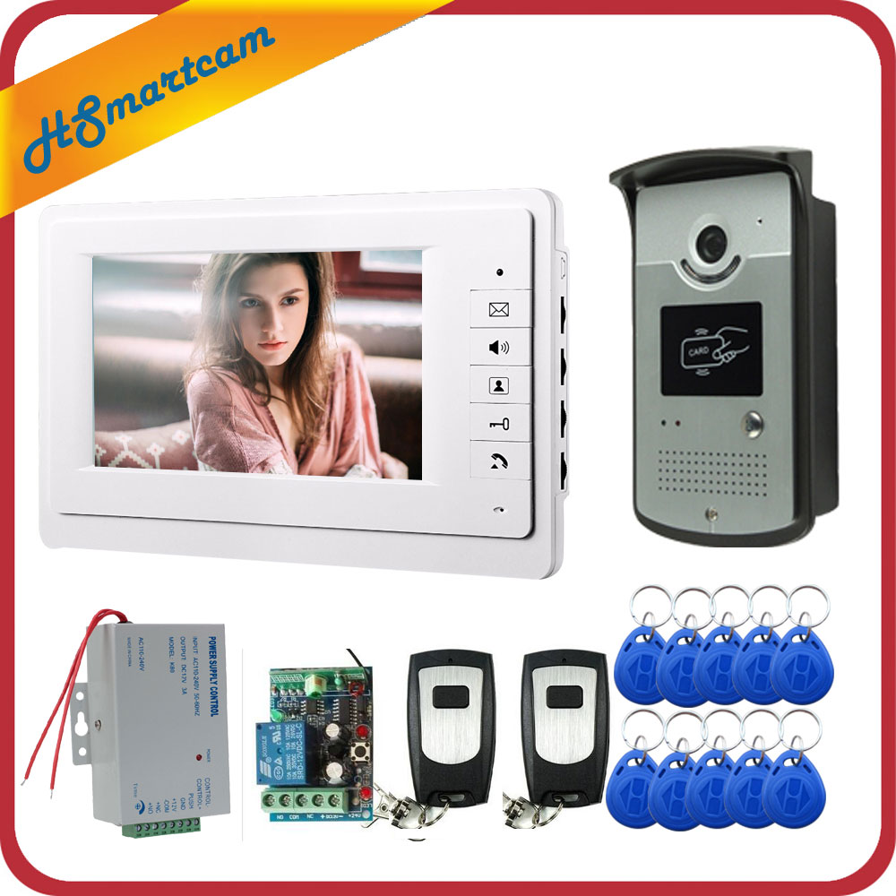 FREE SHIPPING New 7 inch Video Intercom Door Phone System 1 Monitor + 1 RFID Access Doorbell Rainproof Camera + 2 Remote Control brand new wired 7 inch color video intercom door phone set system 2 monitor 1 waterproof outdoor camera in stock free shipping