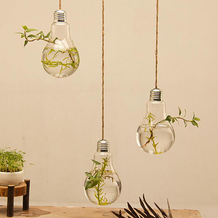 Bevorzugt Verre Lumière Ampoule Plante Suspendue Fleur Vase + Corde  JN61