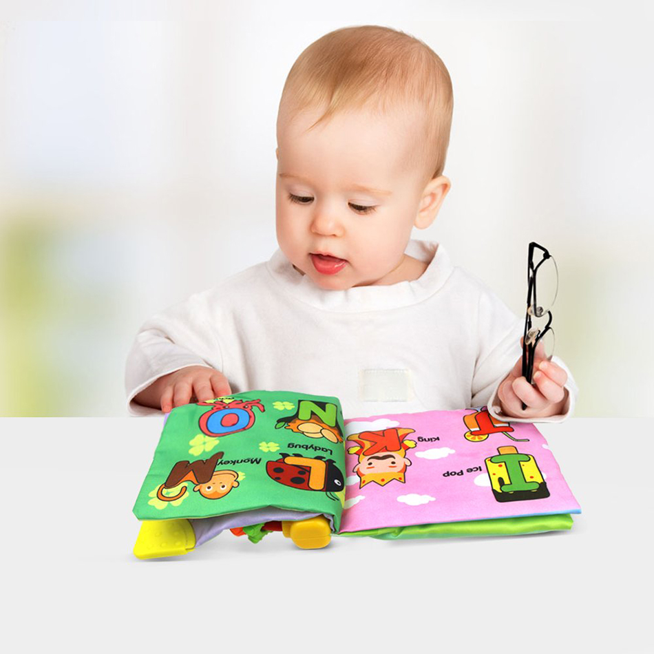 4 Styles  Baby Soft Cloth Book Rustle Sound Early Educational Rattle Books Newborn Stroller Hanging To Infant Learning English