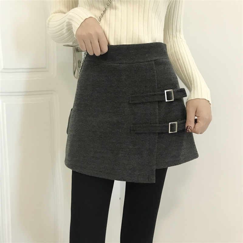 New Spring Autumn Women High Waist Woolen   Shorts   2019 Fashion Lace-Up Wool   Shorts   Skirts Female Casual Culottes