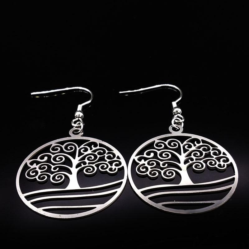 2018 Tree of Life Silver Color Drop Earring for Women Pendientes Boho Dangle Earrings Women Jewelry bijoux femme aretes E612134