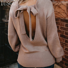 Sexy Design Backless Knitting Pullover Autumn Bow Hole Sweater Lace Up Winter Tops for Women Hollow Out Jumper Bandage Loose